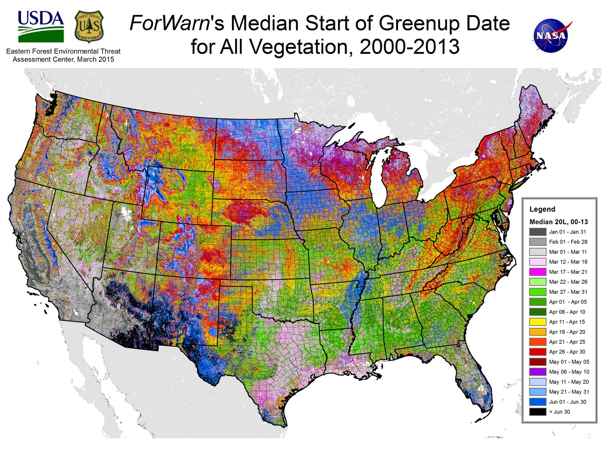 The Typical Start Of Greenup In Natural Vegetation ForWarn - Us forest service ecoregion map