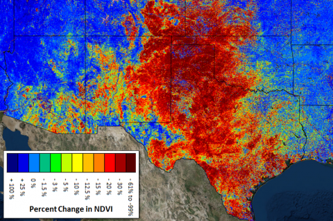 Areas hit hard by the 2011 drought in Texas
